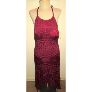 SUE WONG RED SOUTACHE EMBROIDERY HALTER KNIT DRESS